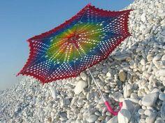 Rainbow Crochet Lace Umbrella/Parasol