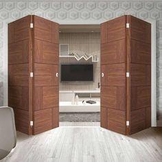 Bespoke Thrufold Ravenna Walnut Flush Folding 2+2 Door - Prefinished - Lifestyle Image.    #walnutdoors #ravennadoors