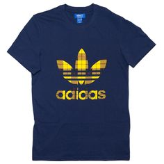 Adidas T-shirt Trefoil Plaid Blu