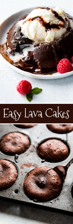 How to make 6 ingredient chocolate lava cakes with easy step-by-step photos and a how-to video! EASY recipe on sallysbakingaddic...