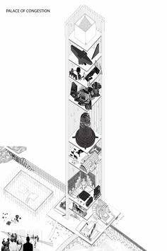 Drawing Architectural The 80 Best Architecture Drawings of 2017 (So Far),© Natali Bezarashvili - Image 33 of 81 from gallery of The 80 Best Architecture Drawings of 2017 (So Far). Architecture Graphics, Architecture Drawings, Amazing Architecture, Architecture Design, Architecture Models, Axonometric Drawing, Architectural Section, Painted Books, Book Projects