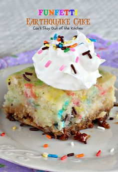 Funfetti Earthquake Cake | Can't Stay Out of the Kitchen | fantastic #cake with #funfetticakemix #vanillachips and #coconut. You'll make this #dessert for every birthday after tasting one bite!