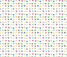 Rainbow Watercolor Hearts fabric by valerinick_ on Spoonflower - custom fabric