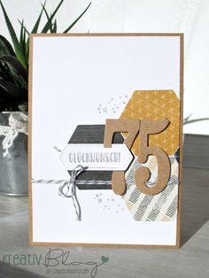 """Eine weitere Männerkarte ist mit dem Designerpapier """"unvergleichlich urban"""" und den Framelits Formen """"Werkzeug"""" entstanden. Das DP harmoni..."""