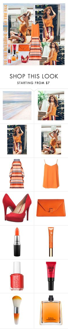"""""""Orange sunset"""" by yuriblossoms ❤ liked on Polyvore featuring Christian Siriano, Dorothy Perkins, Jessica Simpson, Valextra, MAC Cosmetics, Clarins, Essie, Maybelline and COSTUME NATIONAL"""