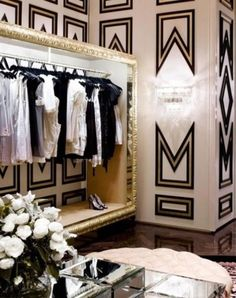 Patterned walls inside the closet