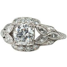Art Deco 0.95 Carat Diamond Engagement Ring