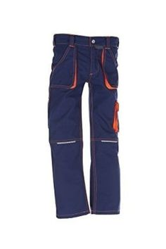 Planam Junior Bundhose, bleumarine/orange, 122/128 -