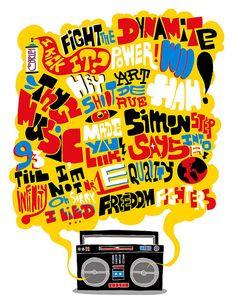 Hip Hop Boom Box  illustration by Pedro Campiche :: viaakacorleone.com