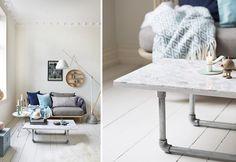 7 sofabord du lager selv | Boligpluss.no Hygge, Office Desk, Diy Furniture, Dining Table, Home Decor, Pintura, Living Room Turquoise, Bricolage, Modern