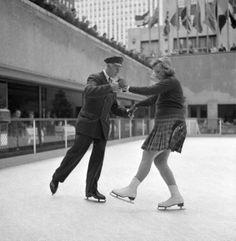 Couple skating - Rockefeller Center. November, 1954.