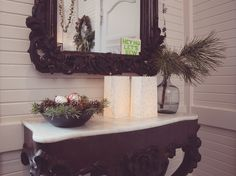 A rustic & elegant Christmas decoration at Waldfrieden State. With lots of white / green and gold accents.