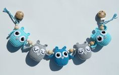 Blue crochet stroller chain Blue owl pram toy Pram chain with owls Crochet…