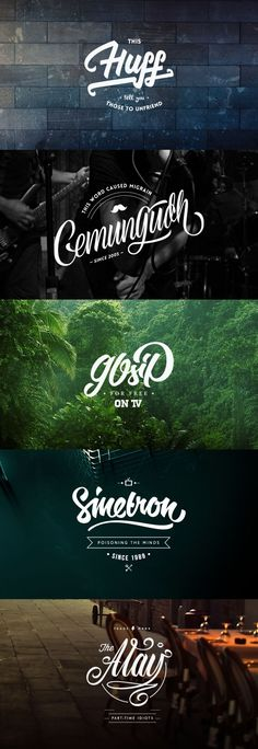 Lettering & Logo design inspiration. It's really important that the text is clear and easy to read against its background. Good contrast that eye catching. I like how the smooth text is easy on the eye and pleasant to read.