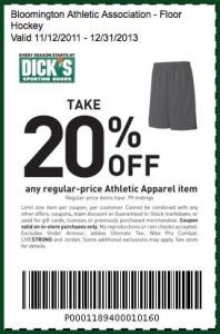 dicks sporting goods printable coupon athletic apparel december 2013
