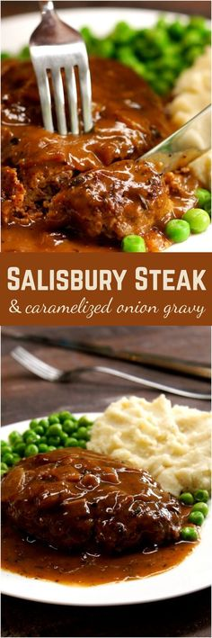 Here's how to make an old-school Salisbury steak, just like you remember it (unless you remember it from TV dinners or school cafeteria lunches — in which case this recipe with caramelized onion gravy is way better). (steak ideas for lunch) Homemade Salisbury Steak, Salisbury Steak Recipes, Meat Recipes, Dinner Recipes, Cooking Recipes, Healthy Recipes, Dinner Ideas, Hamburger Recipes, Ground Beef