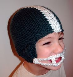 Who doesn't want to knit one of these - fun! Knit Pattern Football Helmet Hat PDF. $5.00, via Etsy.