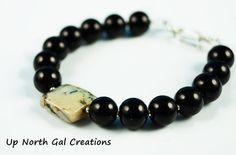 RESERVED LISTING  for Julie D..Black Pearl Bracelet, Cream and Black Stone, Natural Stone Bracelet, 7 inch bracelet,