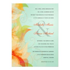 "Aqua Orange Floral Formal Wedding Invitations 5.5"" X 7.5"" Invitation Card"