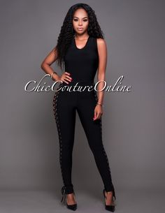 Chic Couture Online - Lucca Black Lace-Up Sides Bandage Jumpsuit. (http://www.chiccoutureonline.com/lucca-black-lace-up-sides-bandage-jumpsuit/)