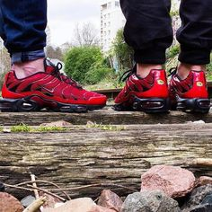"""'16 Nike Air Max Plus TN from the """"Love/Hate"""" pack worn by @apollo91000 and @dexter91000 !! Love a Black/Red CW AMP look so dope !! S/O @cedric_castex on the ! Keep # tagging #everythingairmax by everythingairmax"""