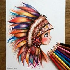 For the warrior in us all Beautiful pencil work by Astchiek Melkonian - shining star draws Little colorful Indian- I drew this with Stabilo original pencils OAstchiek melkonian Cool Art Drawings, Pencil Art Drawings, Beautiful Drawings, Colorful Drawings, Art Drawings Sketches, Colorful Tattoos, Drawing Faces, Sketch Drawing, Drawing Ideas