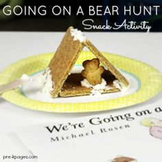 Going on a Bear Hunt Cave Snack for Preschool Going on a Bear Hunt Book Activity for Preschool. A fun, book-inspired snack activity for your preschool, pre-k, or kindergarten kids to make! Bears Preschool, Preschool Snacks, Preschool Activities, Preschool Projects, Summer Themes For Preschool, Preschool Camping Activities, Camping Theme Crafts, Preschool Winter, Time Activities