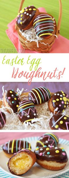 Easter Egg Doughnuts - sweet little mini doughnuts filled with lemon curd and raspberry jam, decorated to look like Easter eggs! | From http://SugarHero.com