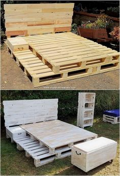 Palettenbett Bed Frames King Size Platform Bed Frames And Headboard Queen Size Bed Wooden Pallet Beds, Pallet Bed Frames, Diy Pallet Bed, Diy Pallet Furniture, Diy Pallet Projects, Pallet Ideas, Garden Furniture, Bed Pallets, Pipe Furniture