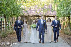 Wedding party at the llama barn at Hawkesdene in Andrews, NC.