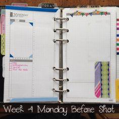 Week 4 Monday Before Shot #filofax #franklincovey #daytimer #diyfish #lifemapping