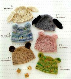 Bonnets pour enfants , orné de jolis oreilles , avec leurs grilles gratuites !