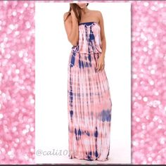 """LAST ONE🎉HOST PICK🆕Pink/Blue TyeDye Maxi Dress TIE DYE DRESS 95% RAYON 5% SPAN Style: Strapless/Tube Dress Made in USA Color: Pink & Blue Tye Dye Runs true to size Size: Small, Medium, Large Maxi dress Approx 56-57"""" long Glam Squad 2 You Dresses Maxi"""