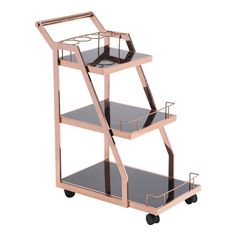 Zuo Modern 100368 Acropolis Serving Cart Rose Gold Simple features wine bottle holder, 3 shelves, accented with black tempered glass in a Rose Gold finish. Metal Bar Cart, Diy Bar Cart, Gold Bar Cart, Bar Cart Decor, Bar Carts, Bar Furniture, Modern Furniture, Upcycled Furniture, Furniture Stores