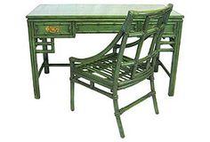 Emerald Chinoiserie Desk & Chair