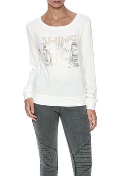Ultra-soft cream pullover with Shine, Shine, Shine graphic in gold.   Triple Shine Pullover by SPIRITUAL GANGSTER. Clothing - Tops - Long Sleeve Clothing - Tops - Casual Indiana