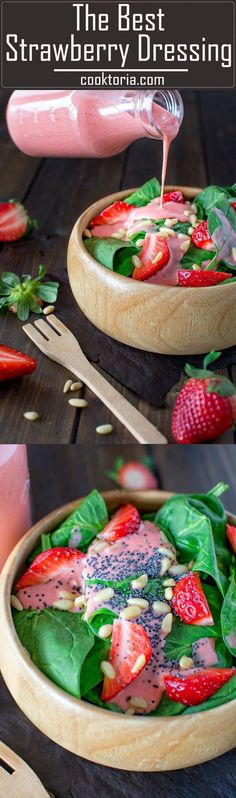 Erfrischendes Leckeres Sommer Salat Dressing mit Erdbeeren *** This really is The Best Strawberry Dressing and it's seriously addicting. It is simple to make and tastes great on many salads ?