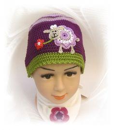 Mütze lila Schäfchen, Häkelmütze lila Schaf