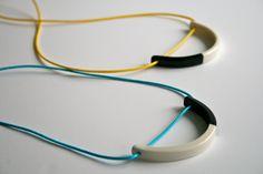 Porcelain pendant monochrome necklace in turquoise blue or yellow by ElisabethBCeramics on Etsy