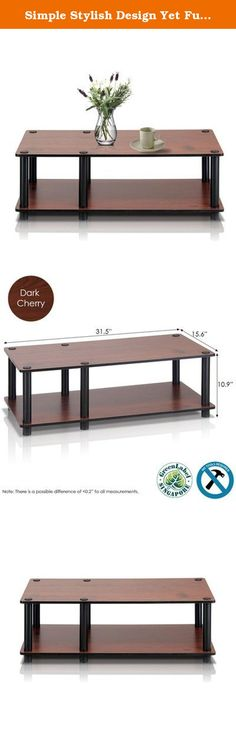"""Simple Stylish Design Yet Functional and Suitable for Any Room, 32"""" TV Stand in Dark Cherry/Black. The 32"""" TV Stand in dark cherry finish has two open shelves, one in a rectangular shape, and another in a square shape and a spacious top to place your large TV. The rectangular open shelf can be conveniently used to keep your media components like DVD player or CDs. The other open shelf can be used to place your books or decorative items like flower vase or showpieces. This table has black..."""