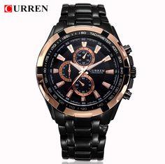 Pánské moderní hodinky Curren černo zlaté - Japonský strojek Miyota Quartz  - POŠTOVNÉ ZDARMA Sportovní Hodinky 2ceee97fa7a
