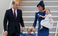 Making it look easy: the Duchess marshalls her children down the steps on an aeroplane in front of t... - Provided by The Telegraph