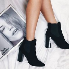 886435fabbc3 HEELED BOOTS ⚡ Our must-have wardrobe staple    Shop our babin  Therapy  Black Velvet Suddley Boots online now