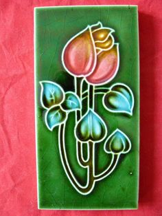 Antique Majolica Art Nouveau Green Tile Stylised Red / Pink & Yellow Flower VGC | Antiques, Architectural Antiques, Tiles | eBay!