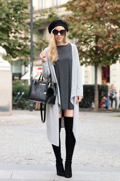 SheIn Giveaway: gray trapeze dress, maxi cardigan, maxi cardigan outfit, mini dress with over the knee boots, Stuart Weitzman 'Highland' boots, Brahmin 'Small Lincoln' satchel, how to wear a long cardigan for petites