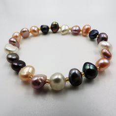 e38595dbce54 Pulsera elástica de perlas cultivadas 4 colores