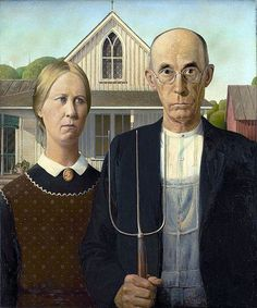 AMERICAN GOTHIC depicts a farmer and his spinster daughter posing in front of their home. The style of the home is American Gothic which inspired the name of the painting. In fact the models were the painter's sister and his dentist.