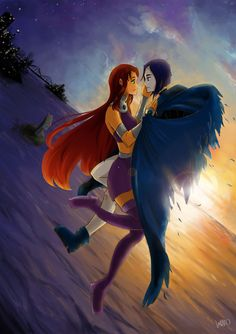 Raestar: I like when they're together. if Starfire is daylight, Raven is night I think sunset is perfect time for them. Teen Titans Love, Teen Titans Fanart, Original Teen Titans, Dc Comics, Pokemon Comics, Teen Titans Animated Series, Starfire And Raven, Teen Tv, Gothic Anime