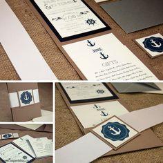 A lovely Sailor inspired wedding invite! Pocketfold Invitations, Wedding Invitations, Design Your Own, Invite, Anchor, Sailor, Wedding Inspiration, Weddings, Inspired