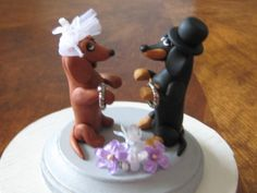 OOAK Clay Dachshund Dogs  Wedding Cake Anniversary by PawsnClaws, $80.00